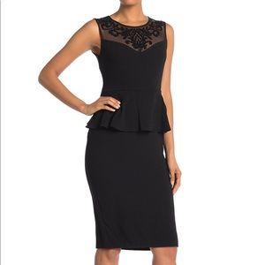 Onyx Nite Peplum Trimmed Illusion Neck Dress